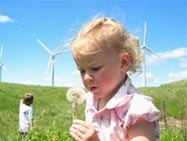 Children on wind farm